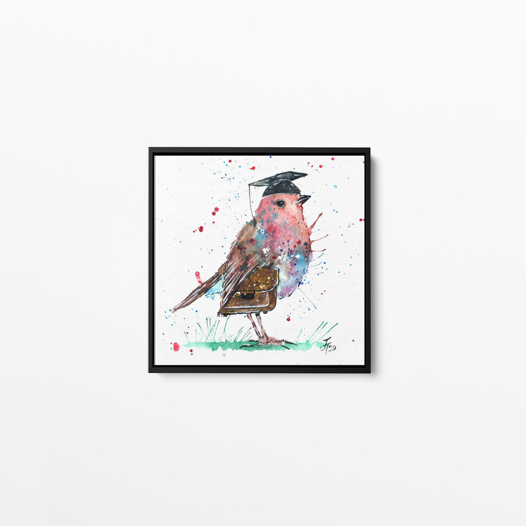"""Teach"" Teacher Robin Square Framed Canvas Print"