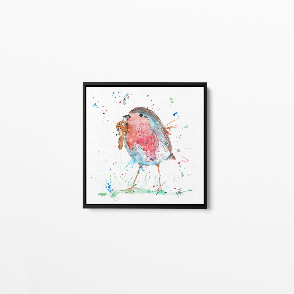 Grateful Robin Square Framed Canvas Print