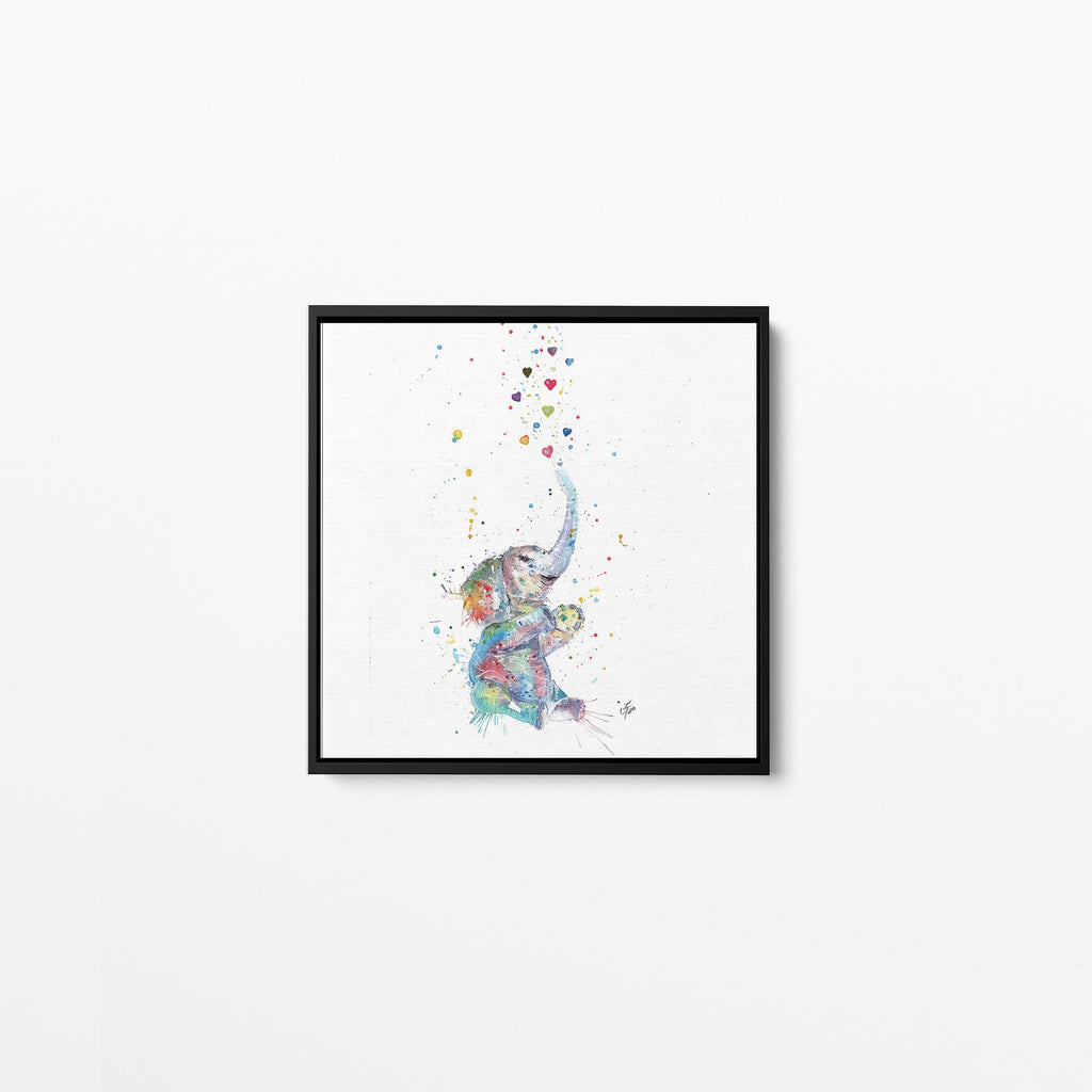 Effy Elephant Square Framed Canvas Print