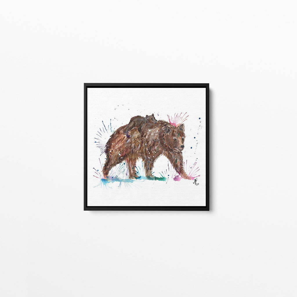 """Precious"" Bears Square Framed Canvas Print"