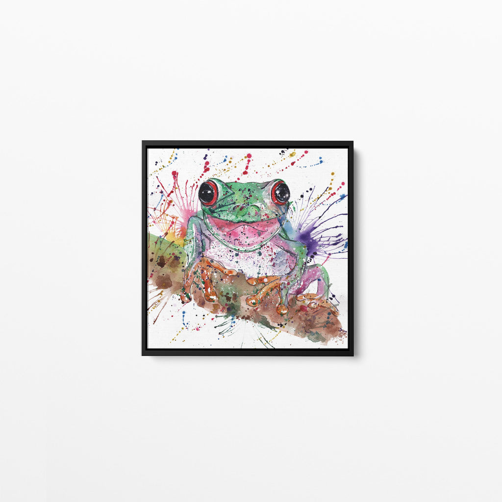 Chris the Frog Square Framed Canvas Print