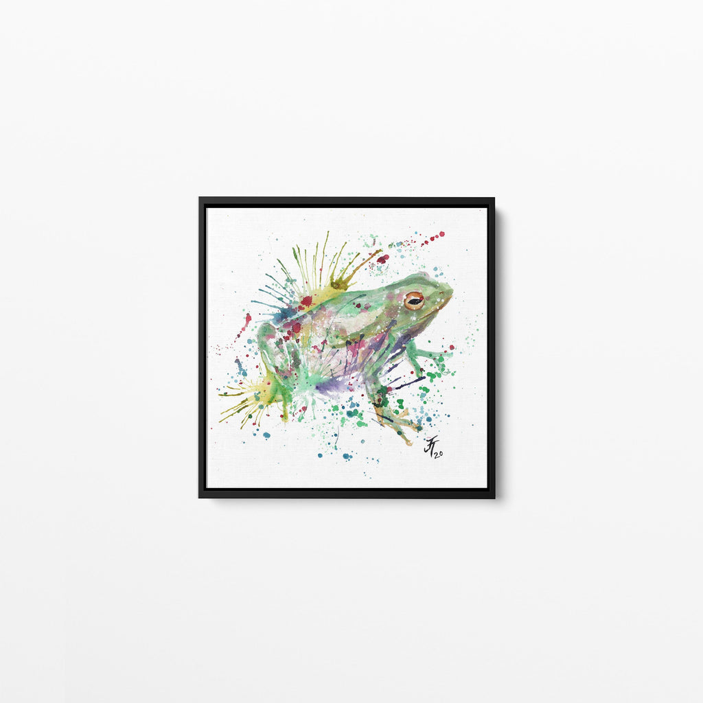 """Ribbit"" Frog Square Framed Canvas Print"