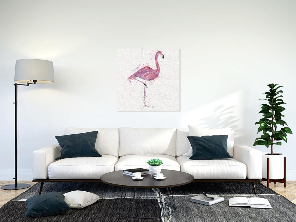 """Flo"" Flamingo Square Canvas Print"