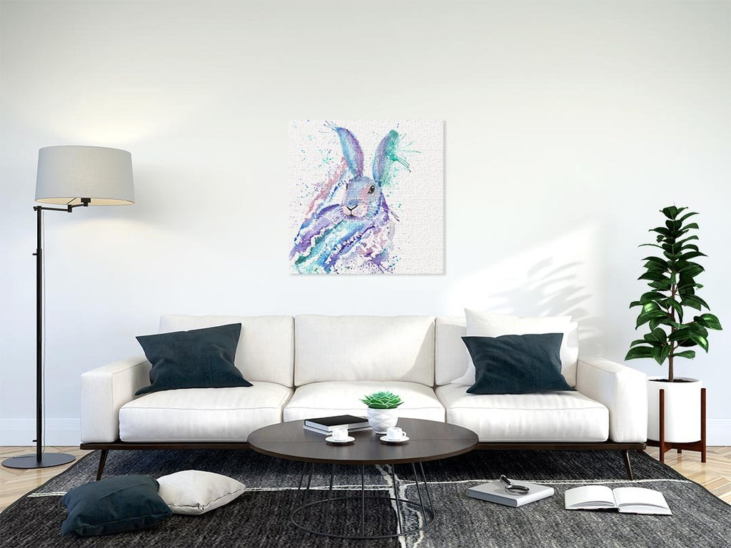 """Faraway"" Rabbit Square Canvas Print"