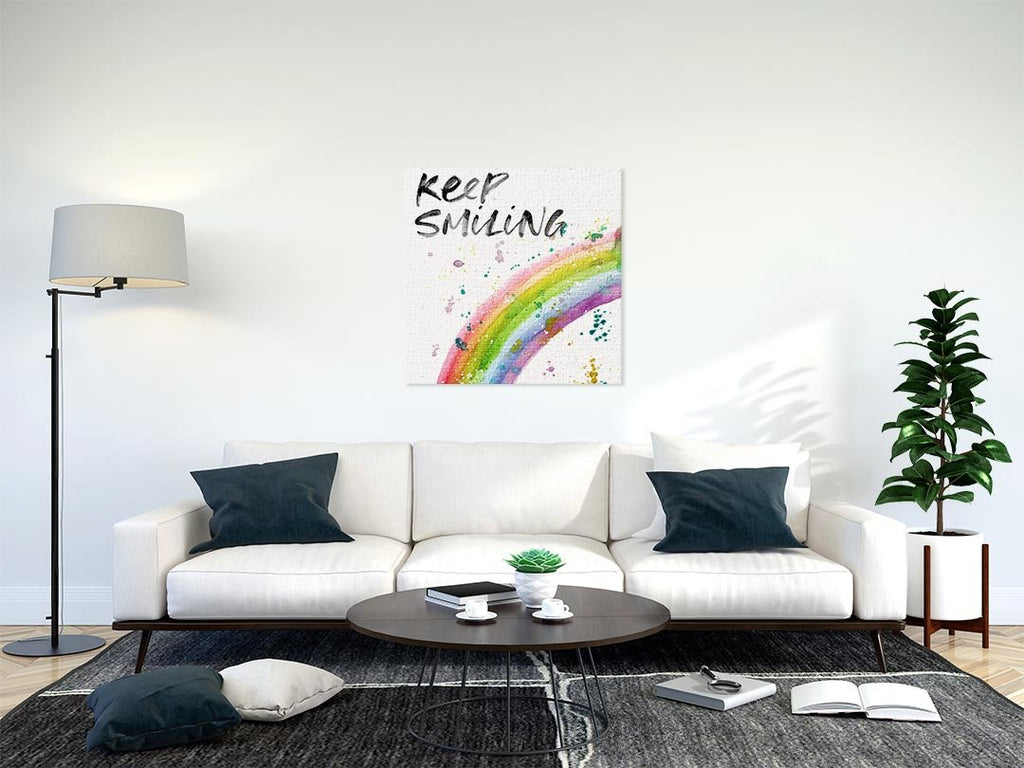 Keep Smiling Rainbow Square Canvas Print