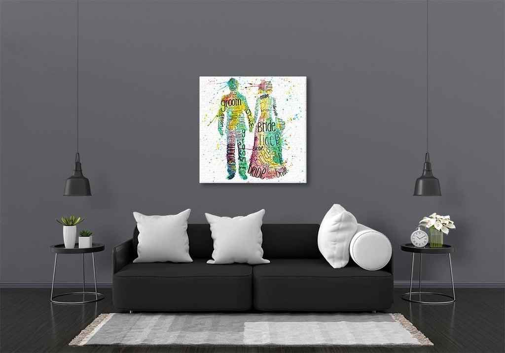 Bride & Groom Square Canvas Print