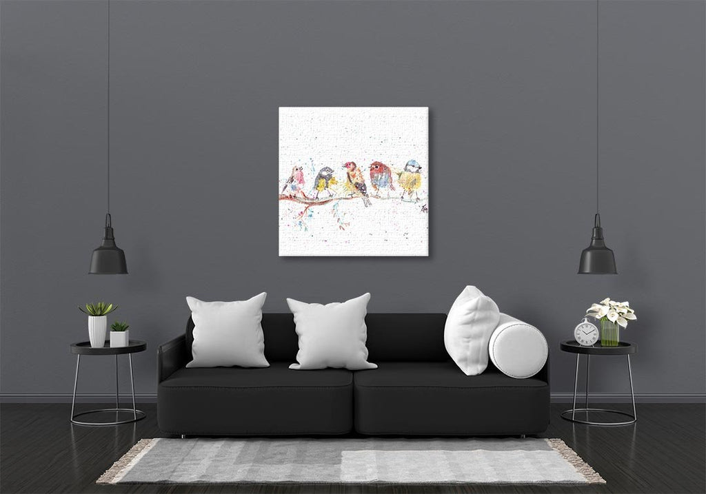 """Tree Friends"" Birds 2 Square Canvas Print"