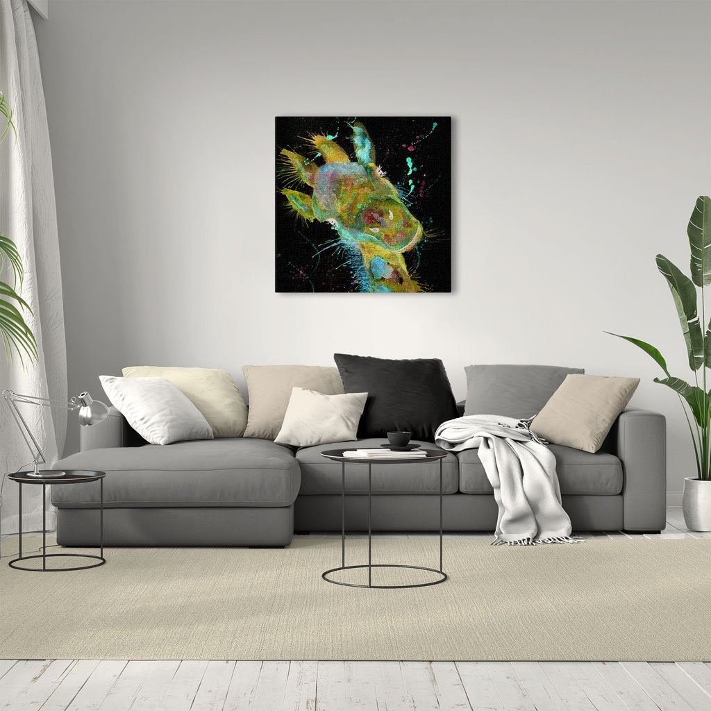 """Hattie"" Giraffe Enchanted Square Canvas Print"
