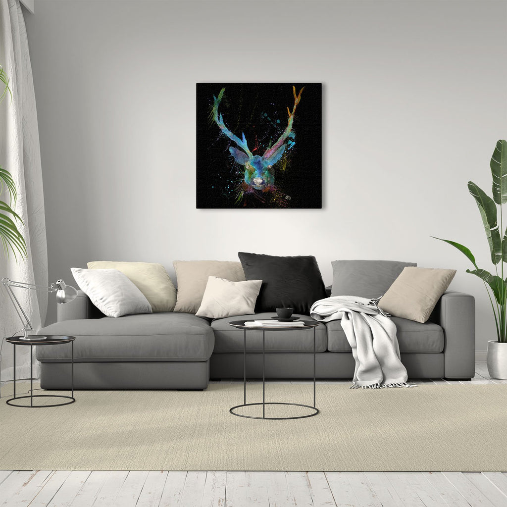 """Bruce"" Stag Enchanted Square Canvas Print"