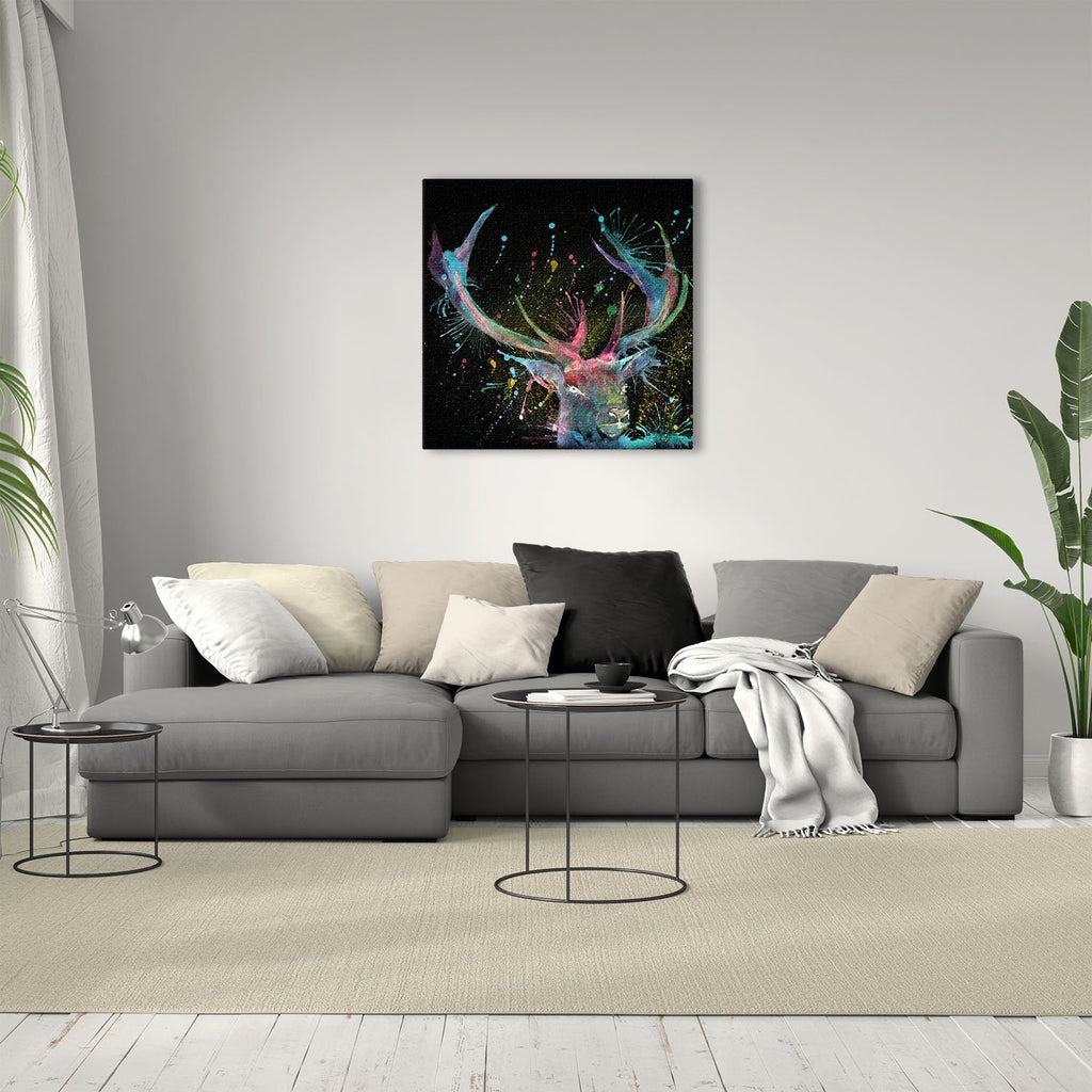 """Proud"" Stag Enchanted Square Canvas Print"
