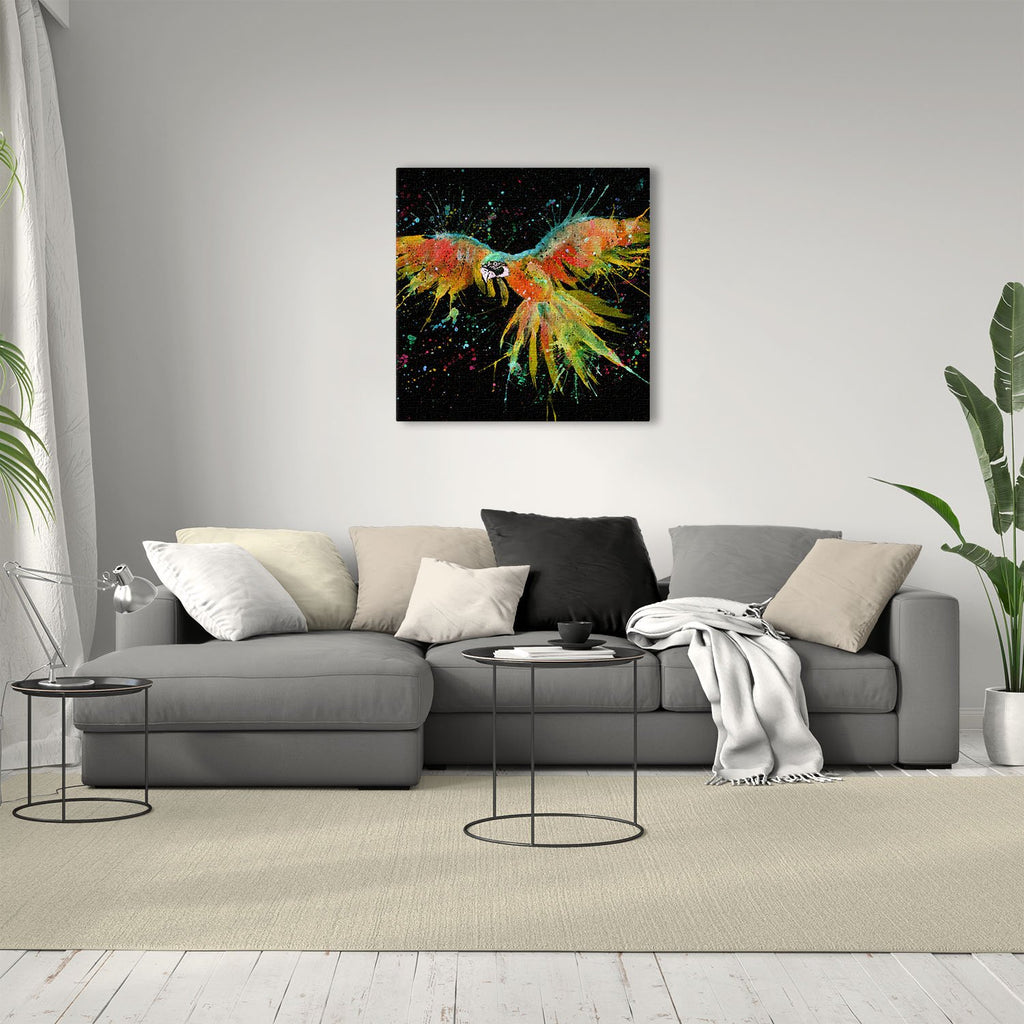 """Ian"" Parrot Enchanted Square Canvas Print"
