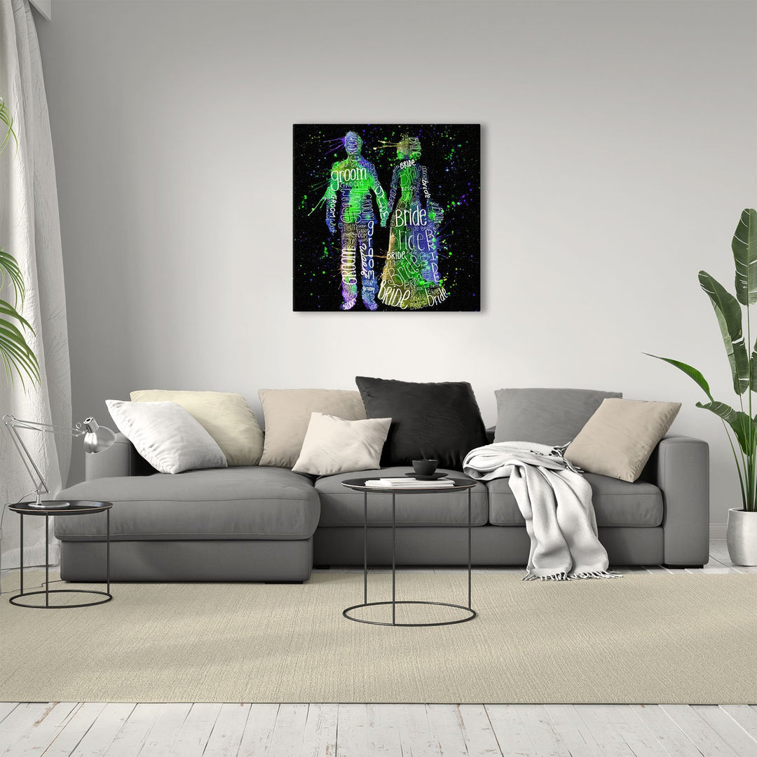 Bride & Groom (Green) Enchanted Square Canvas Print