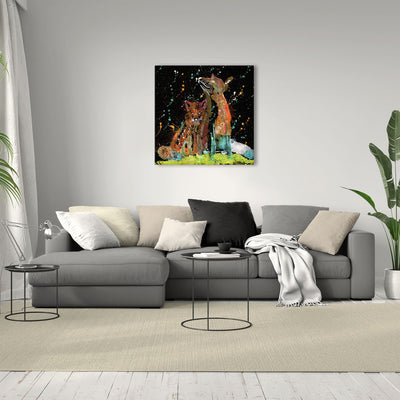 """Always Us"" Foxes Enchanted Square Canvas Print"