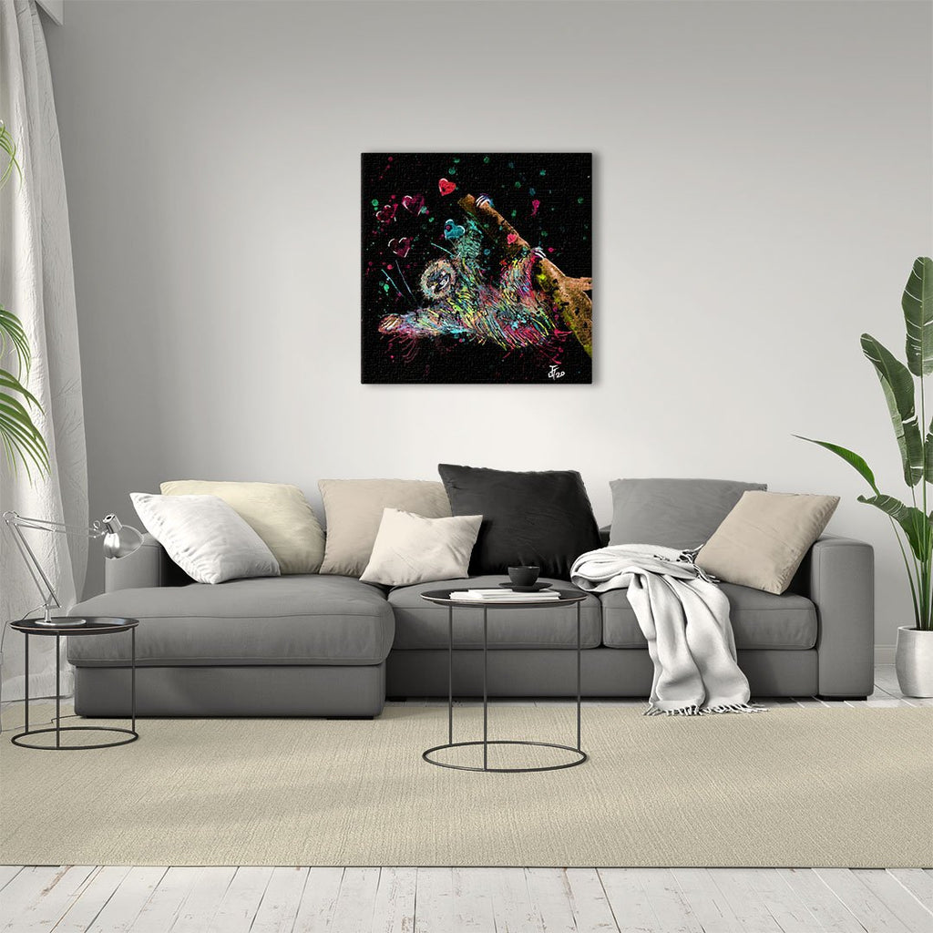 """Hang With Me"" Sloth Enchanted Square Canvas Print"