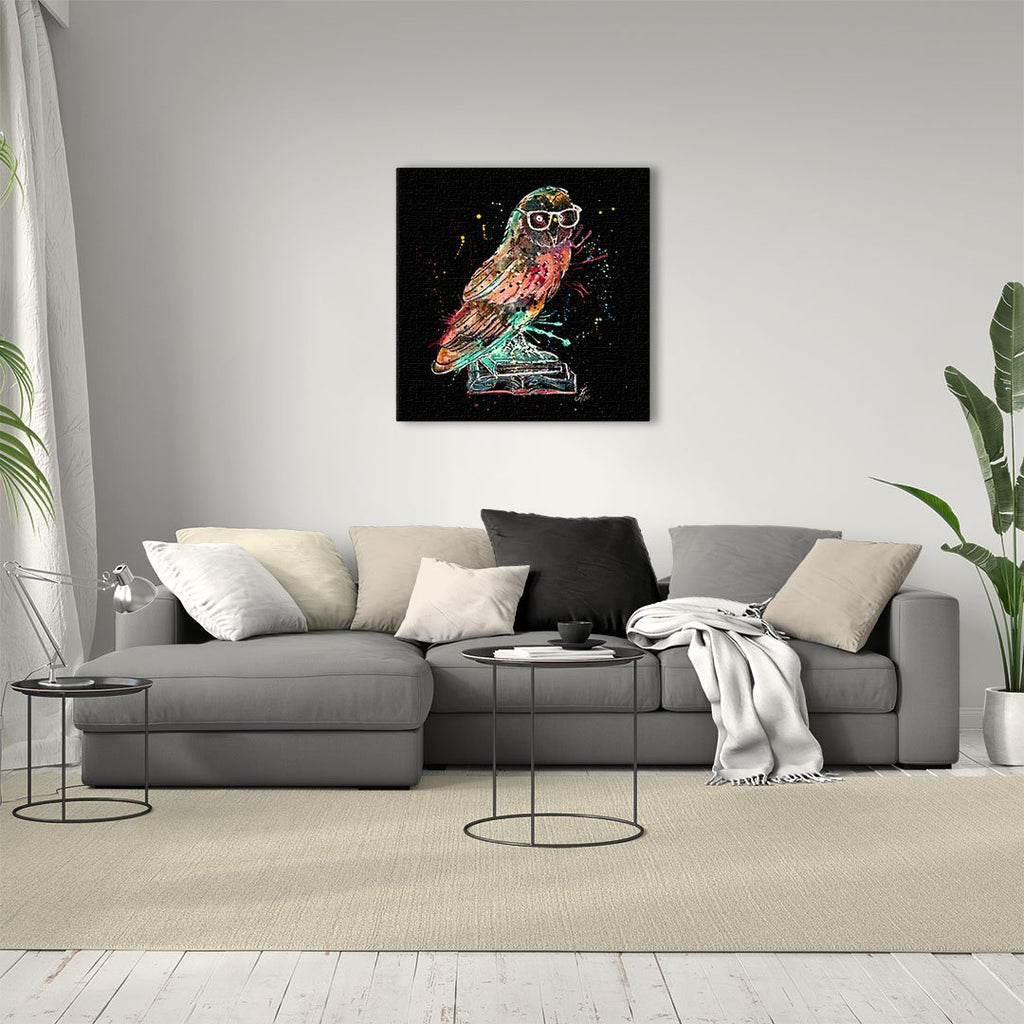 """Knowledge"" Owl Enchanted Square Canvas Print"