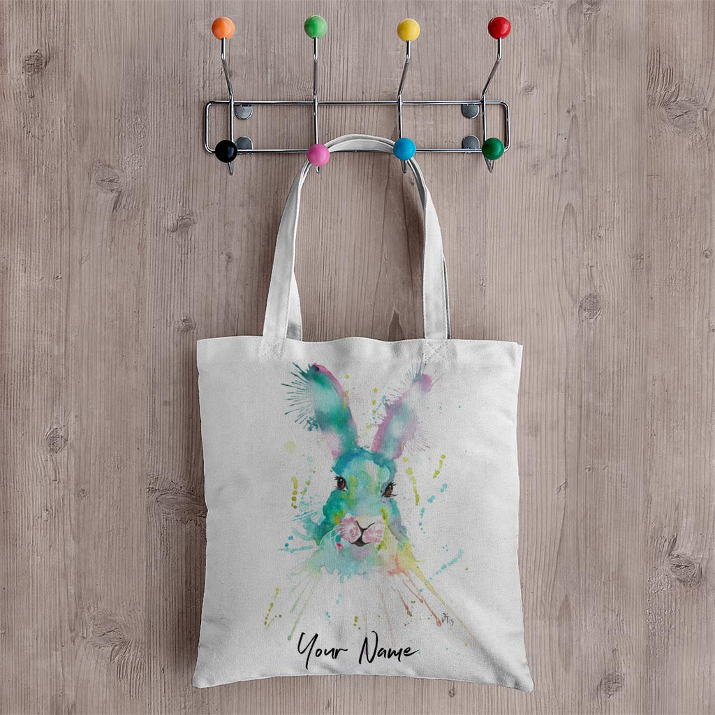 Pink & Green Hare Personalised Canvas Tote Bag