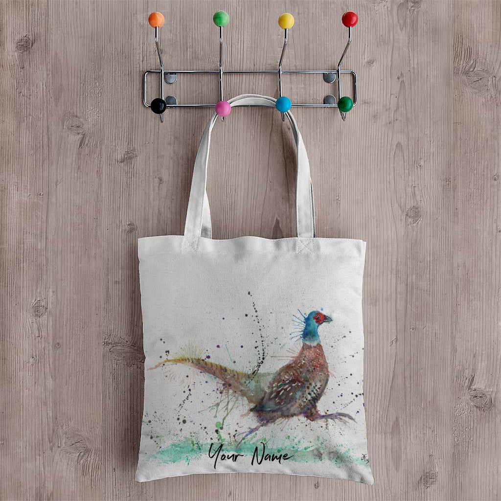 """Fez"" Pheasant Personalised Canvas Tote Bag"
