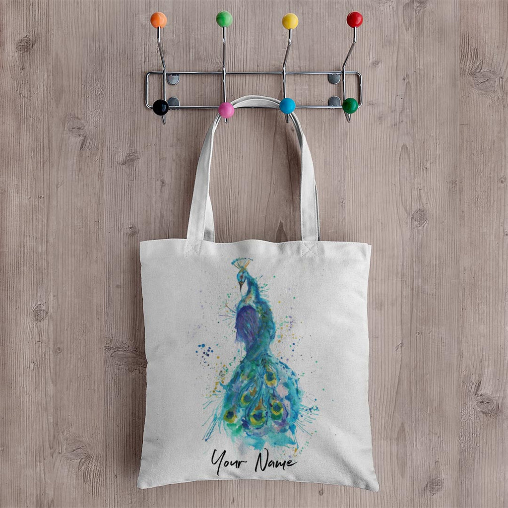 """Prince"" Peacock Personalised Canvas Tote Bag"