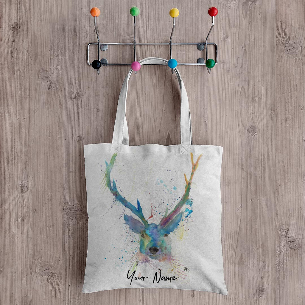"""Bruce"" Stag Personalised Canvas Tote Bag"