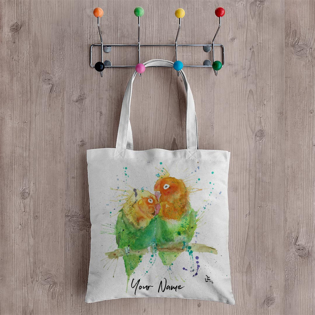 Love Birds Personalised Canvas Tote Bag