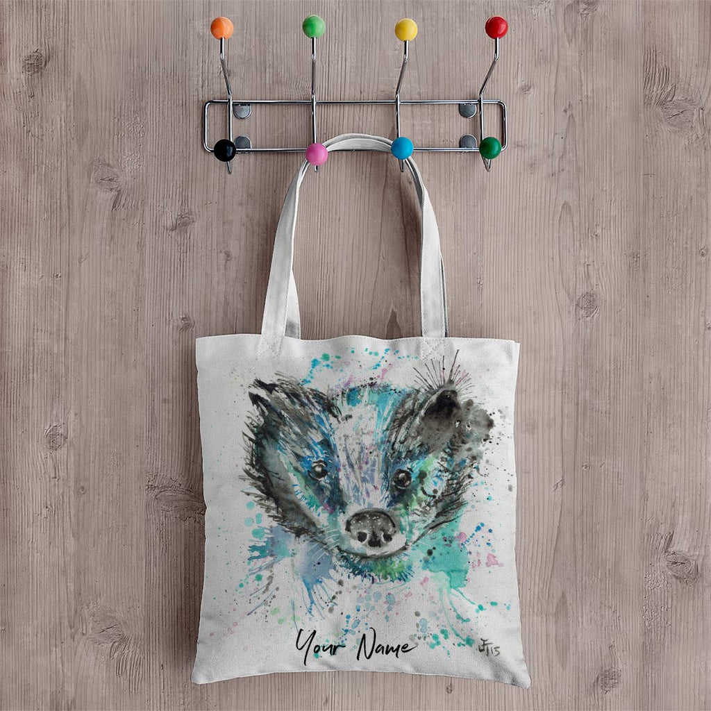 """Baz"" Badger Personalised Canvas Tote Bag"