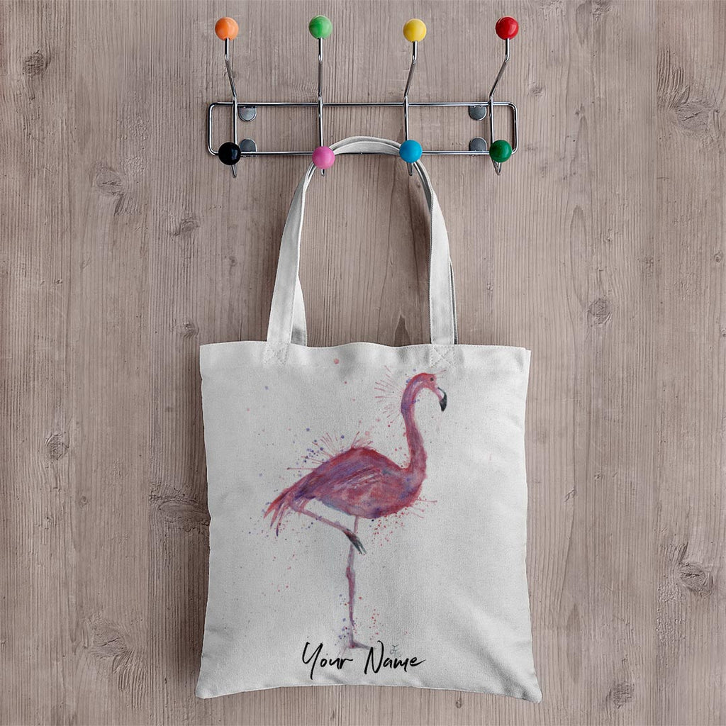 """Flo"" Flamingo Personalised Canvas Tote Bag"