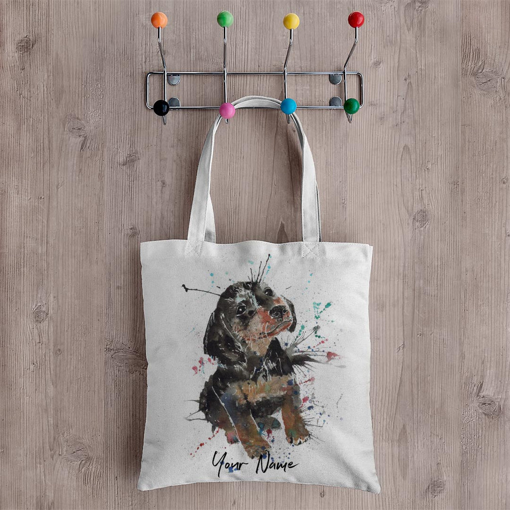 """Pierre"" Dachshund Personalised Canvas Tote Bag"