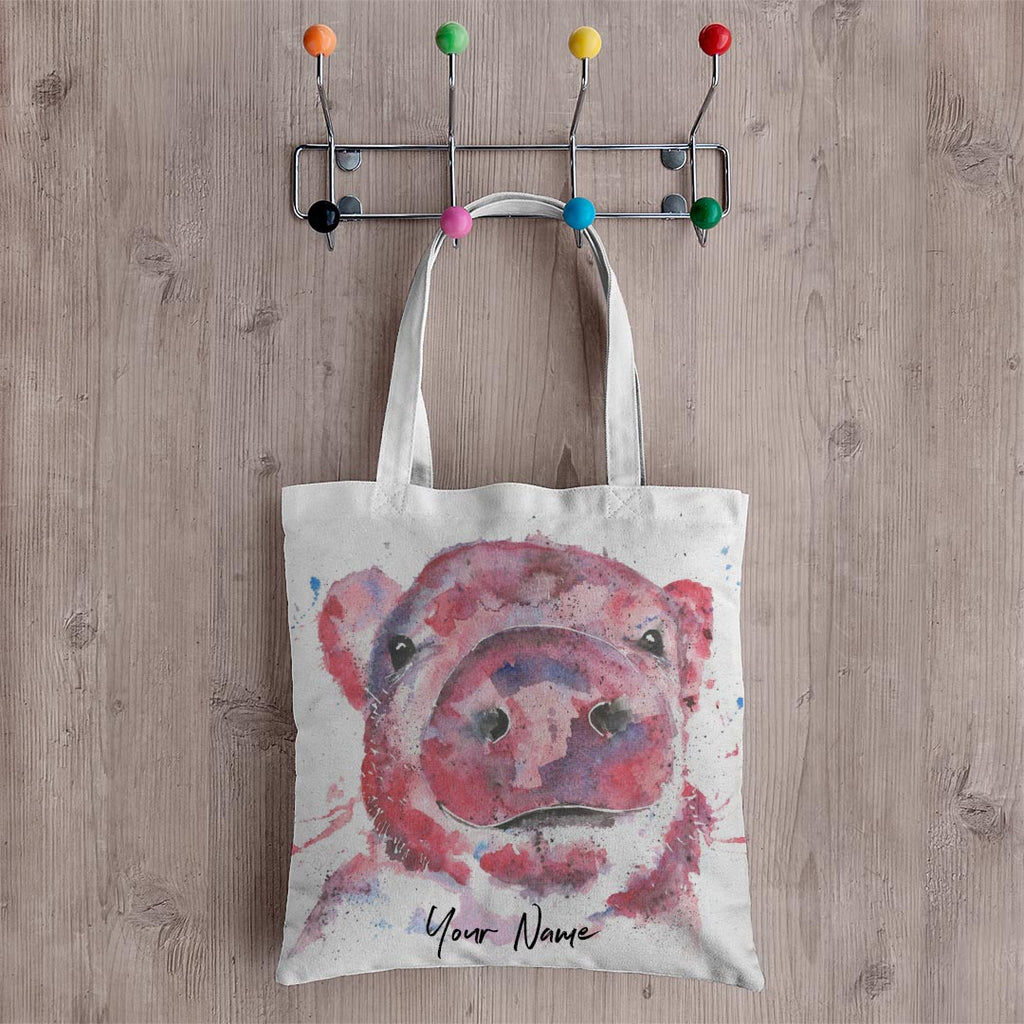 """Priscilla"" Pig Personalised Canvas Tote Bag"