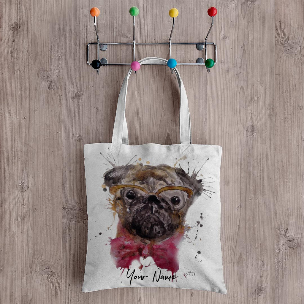 Pug Personalised Canvas Tote Bag