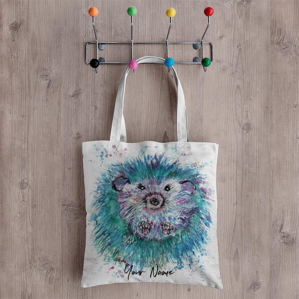 """Maisey"" Hedgehog Personalised Canvas Tote Bag"