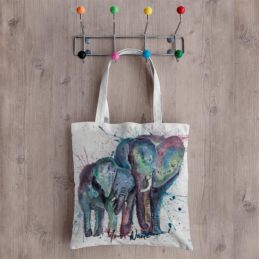 """Us"" Mummy & Babby Elephant Personalised Canvas Tote Bag"