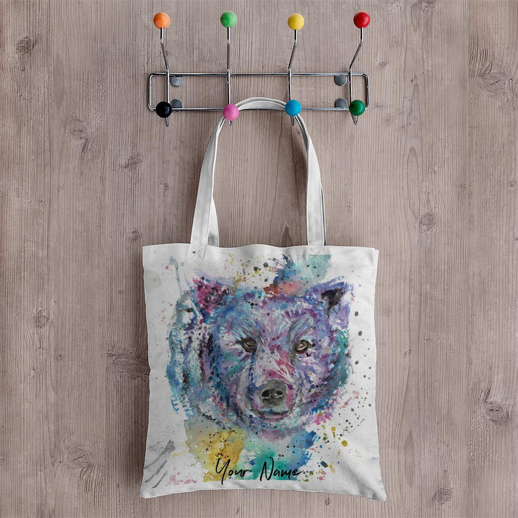 """Monty"" Bear Personalised Canvas Tote Bag"