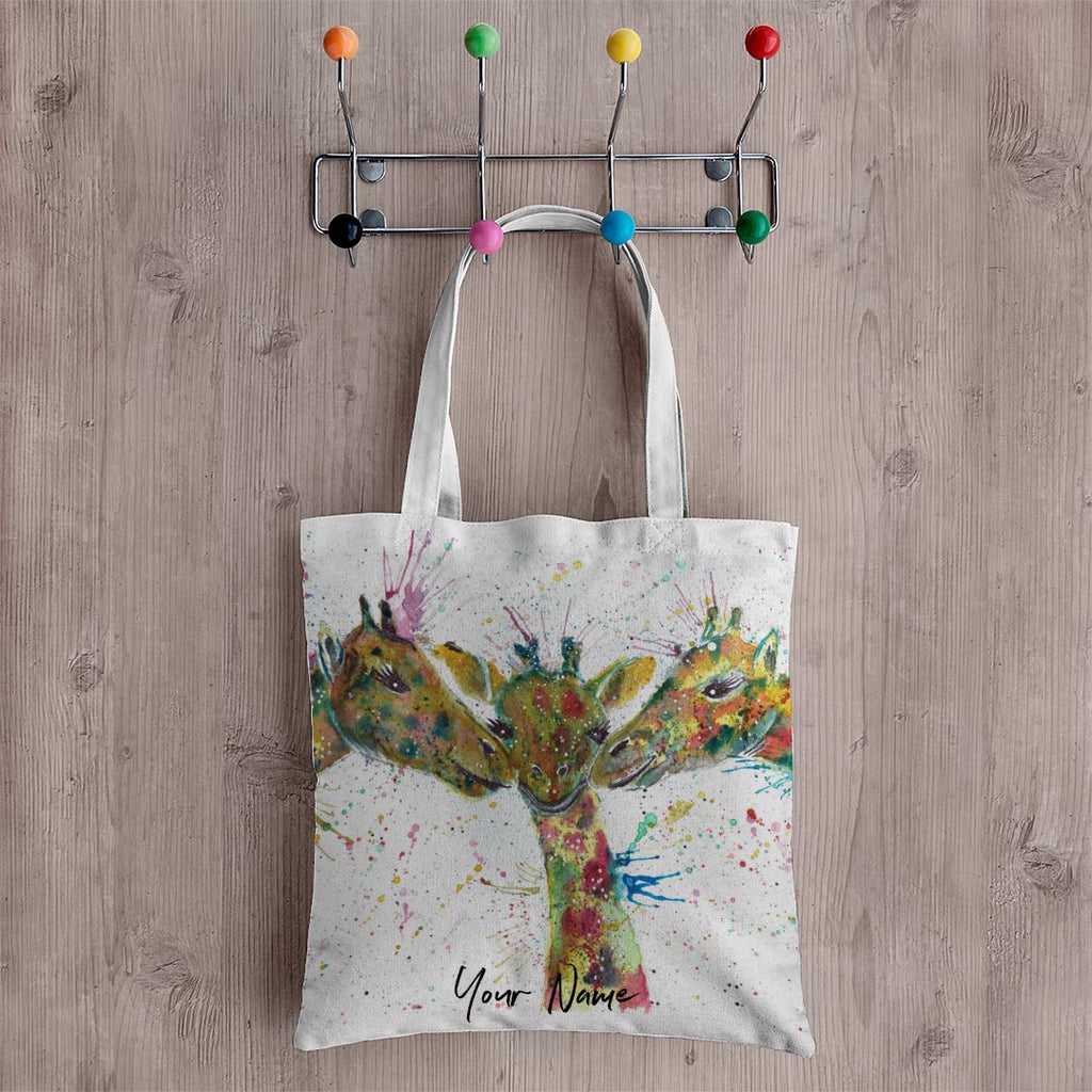 """Together"" Giraffes Personalised Canvas Tote Bag"