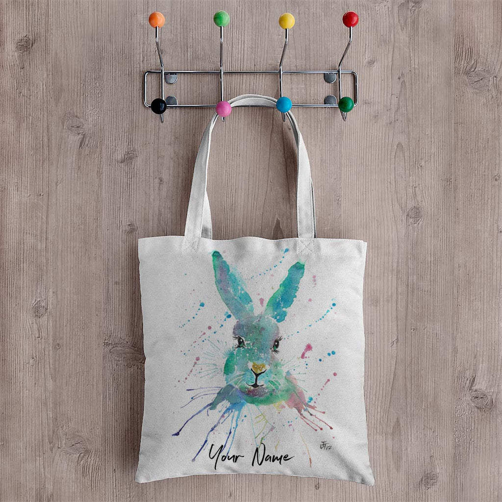 """Minty"" Hare Personalised Canvas Tote Bag"