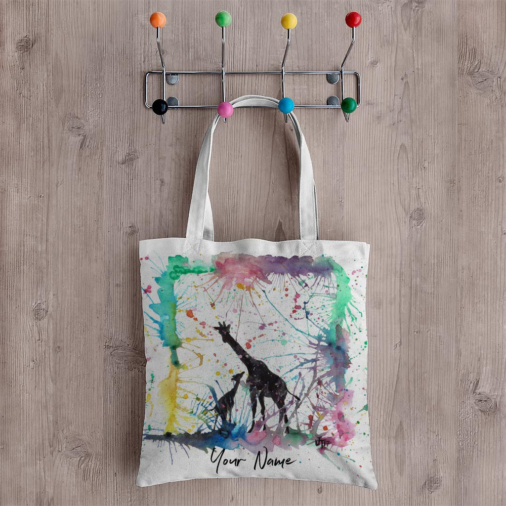 Little Giraffes Personalised Canvas Tote Bag