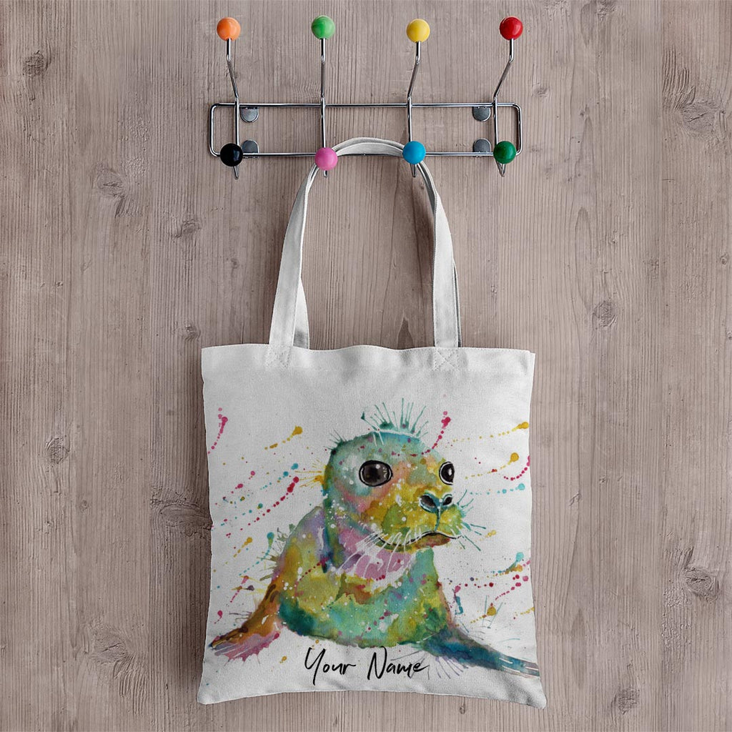 """Toby"" Seal Personalised Canvas Tote Bag"