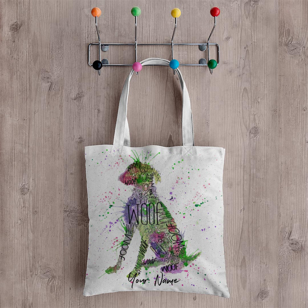 """Woof"" Green Personalised Canvas Tote Bag"