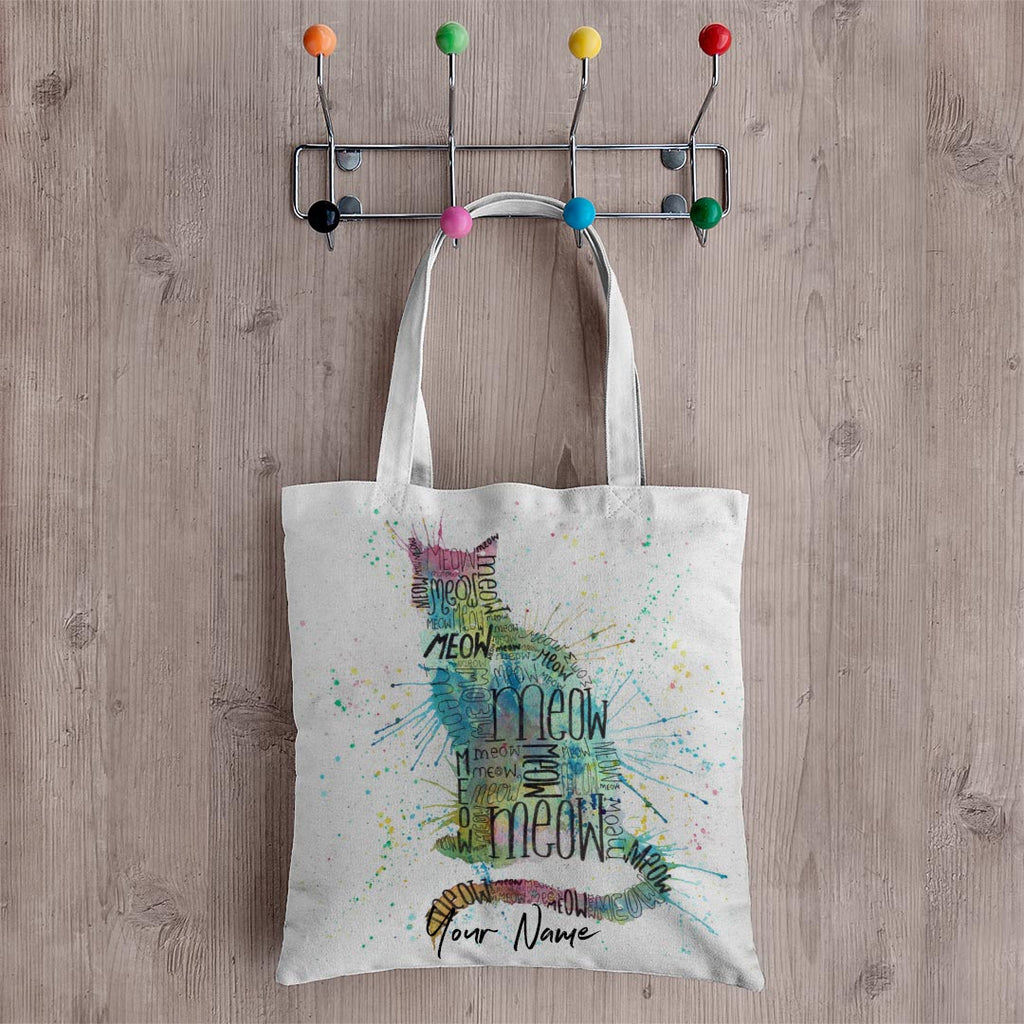 """Meow"" Blue Personalised Canvas Tote Bag"