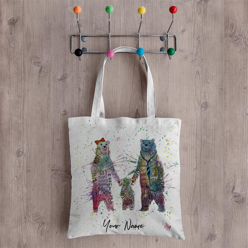 Mummy, Babby, Daddy Bears Personalised Canvas Tote Bag