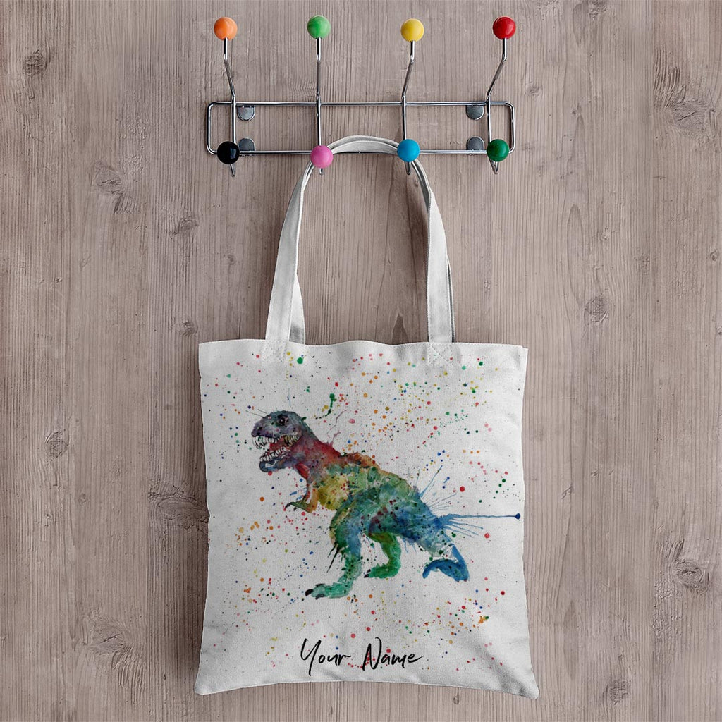 """Gary"" T-Rex Personalised Canvas Tote Bag"