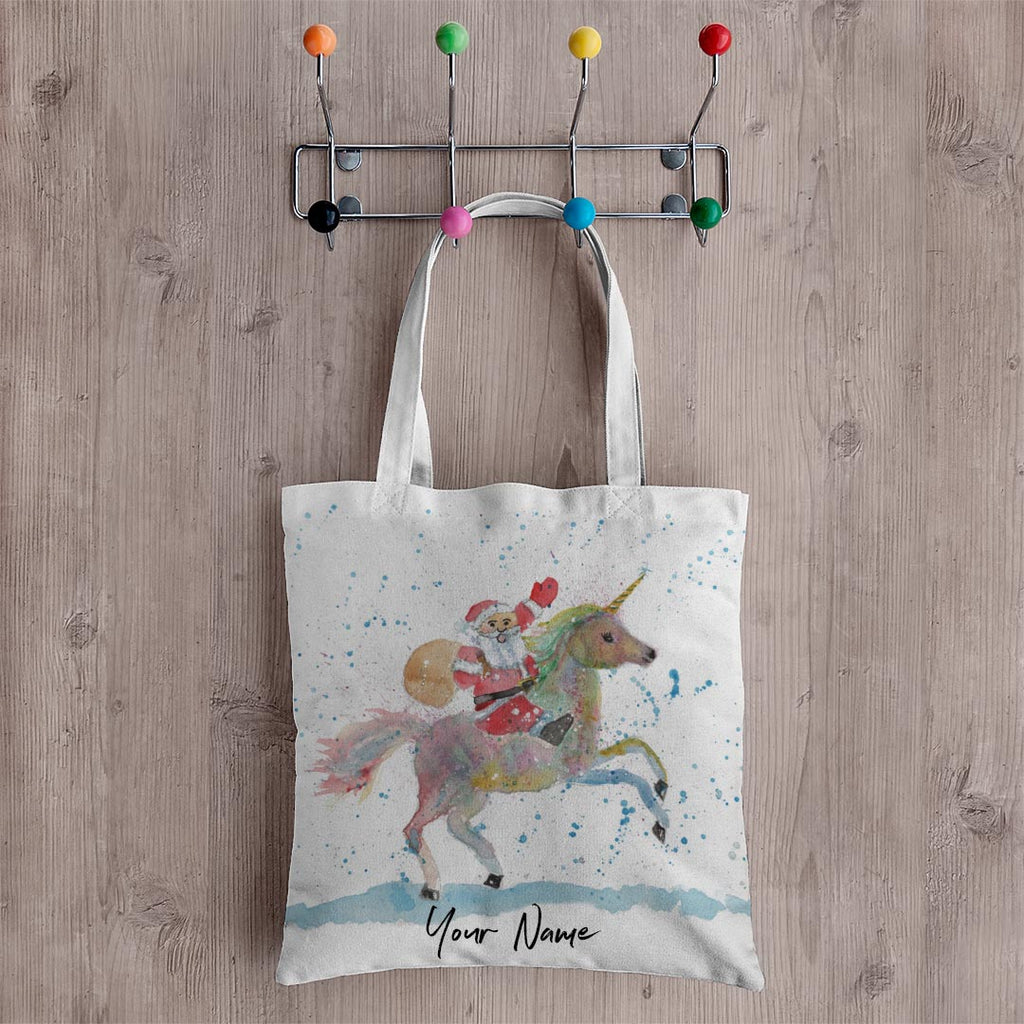 Santa Unicorn Personalised Canvas Tote Bag