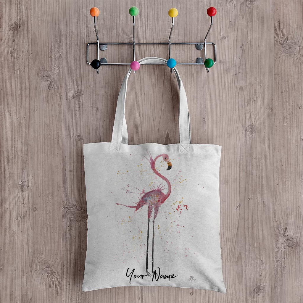 """Sheila"" Flamingo Personalised Canvas Tote Bag"