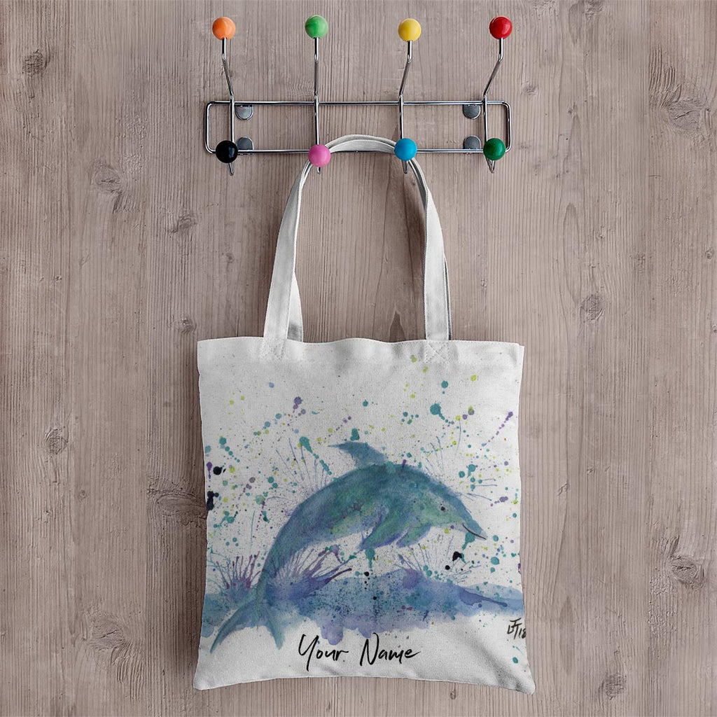 """Bottle"" Dolphin Personalised Canvas Tote Bag"