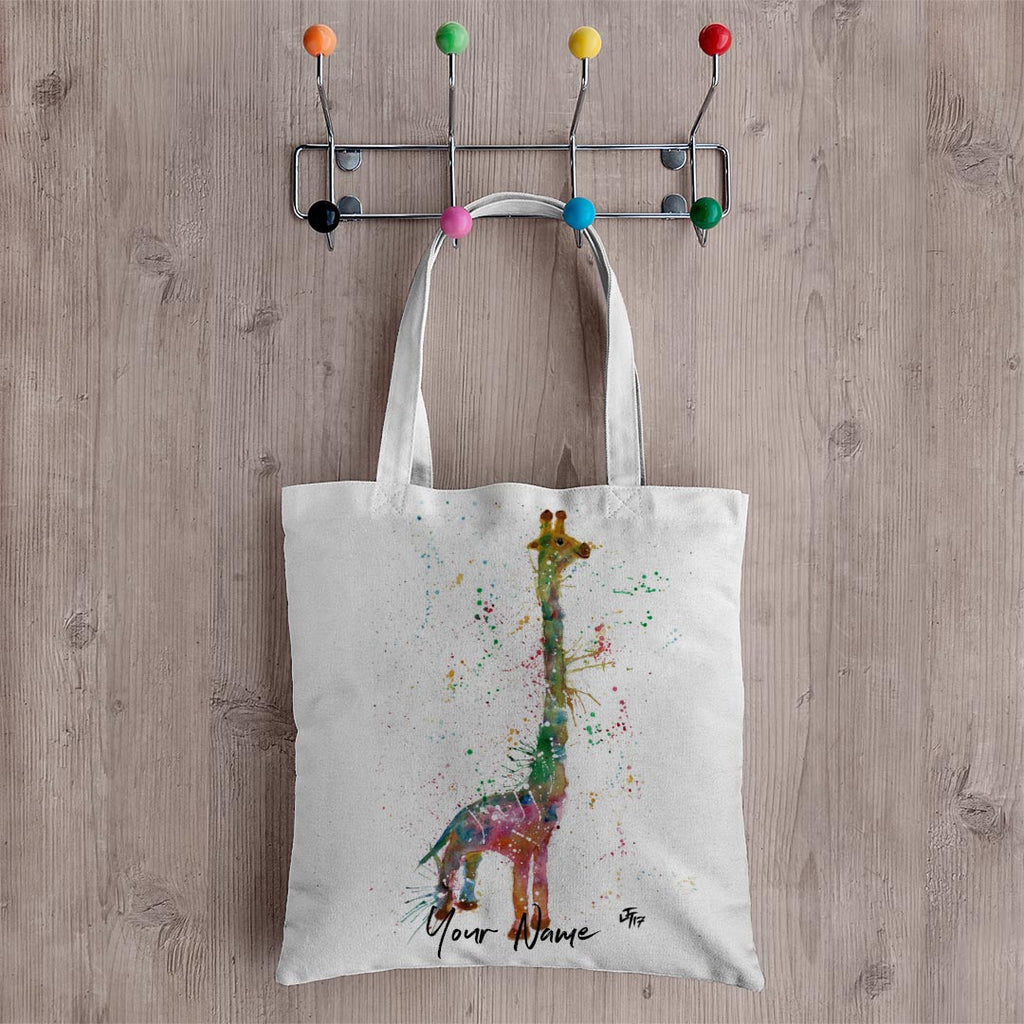 """Lofty"" Giraffe Personalised Canvas Tote Bag"