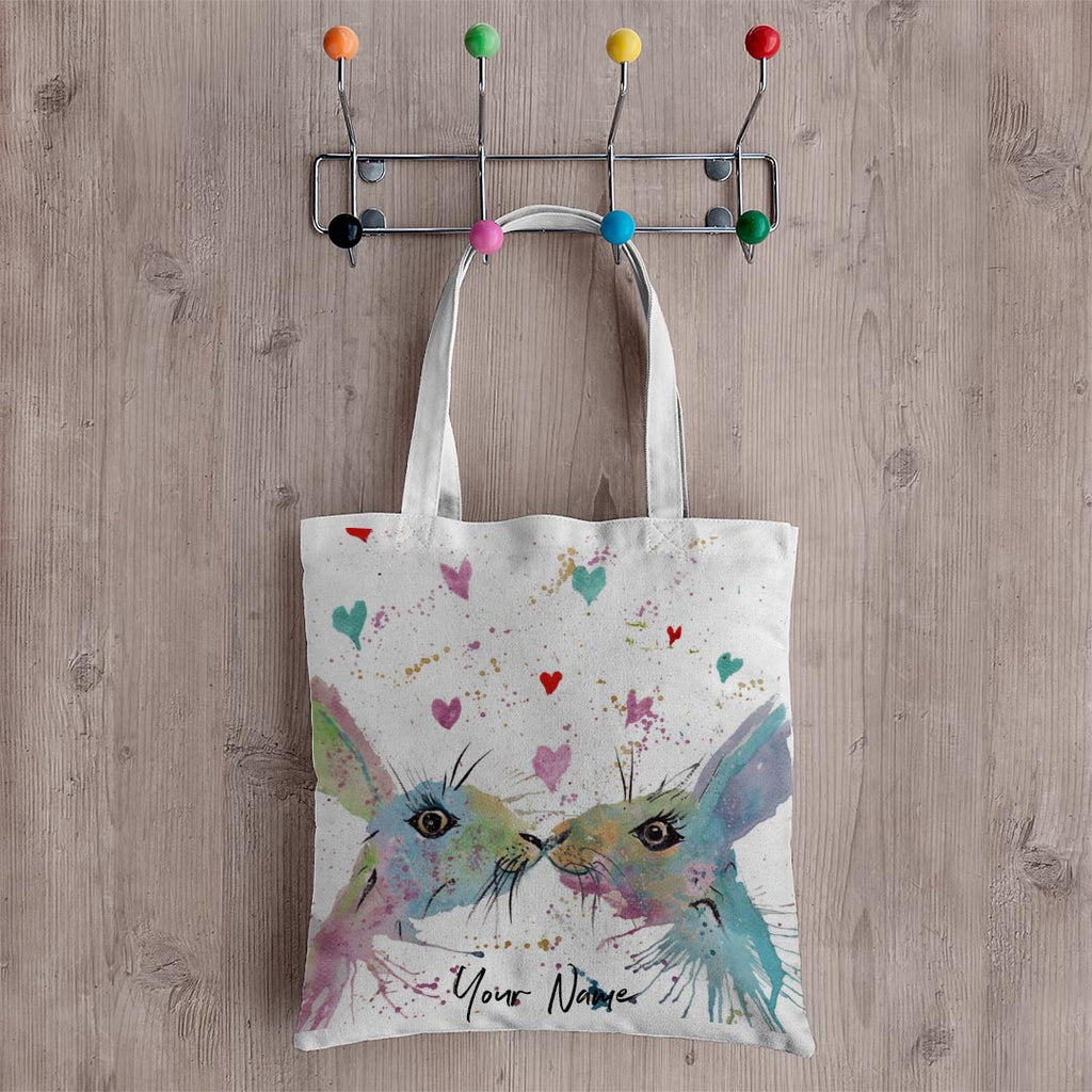 Bunnies in Love Personalised Canvas Tote Bag