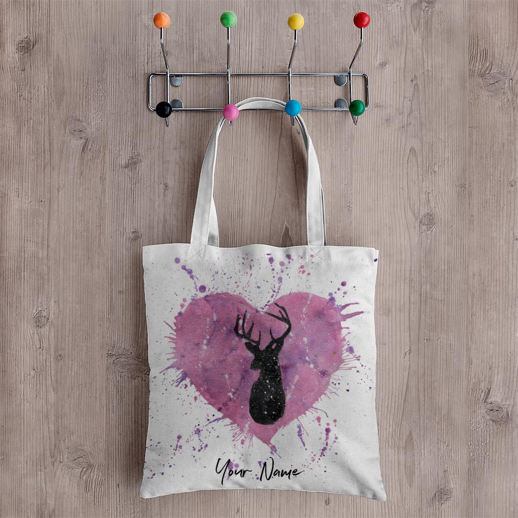 Stag Heart Personalised Canvas Tote Bag
