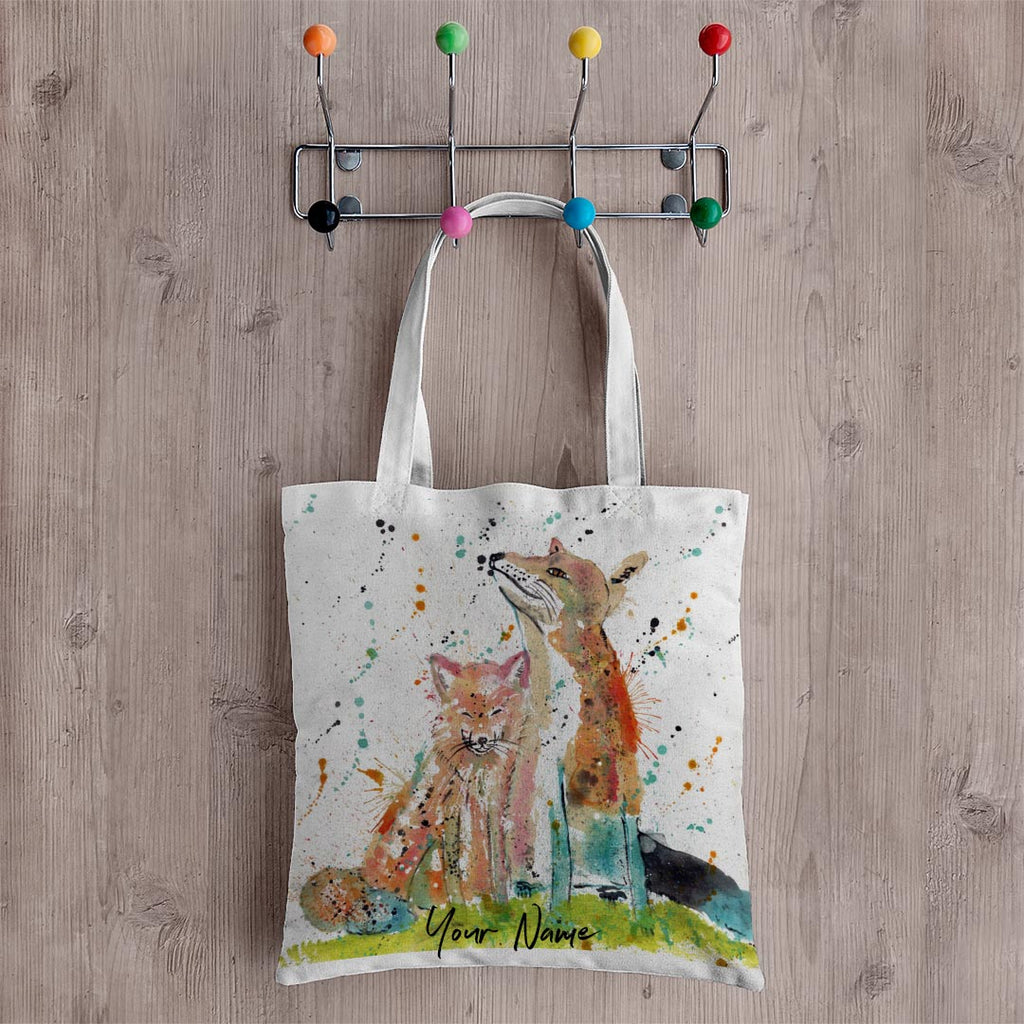 """Always Us"" Foxes Personalised Canvas Tote Bag"