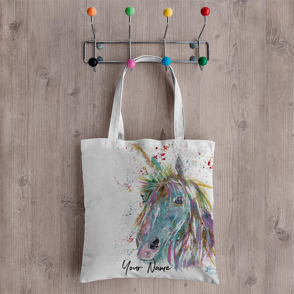 """Millie"" Unicorn Personalised Canvas Tote Bag"