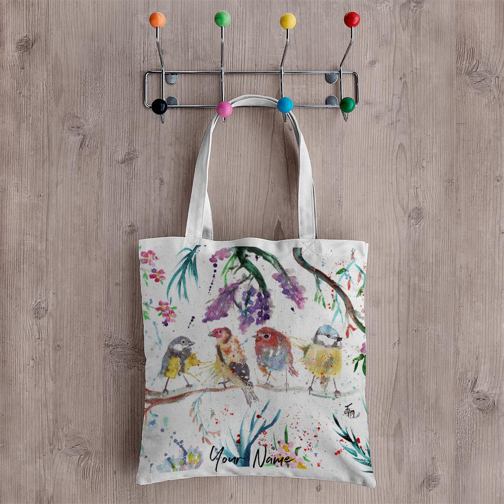"""Tree Friends"" Birds Personalised Canvas Tote Bag"
