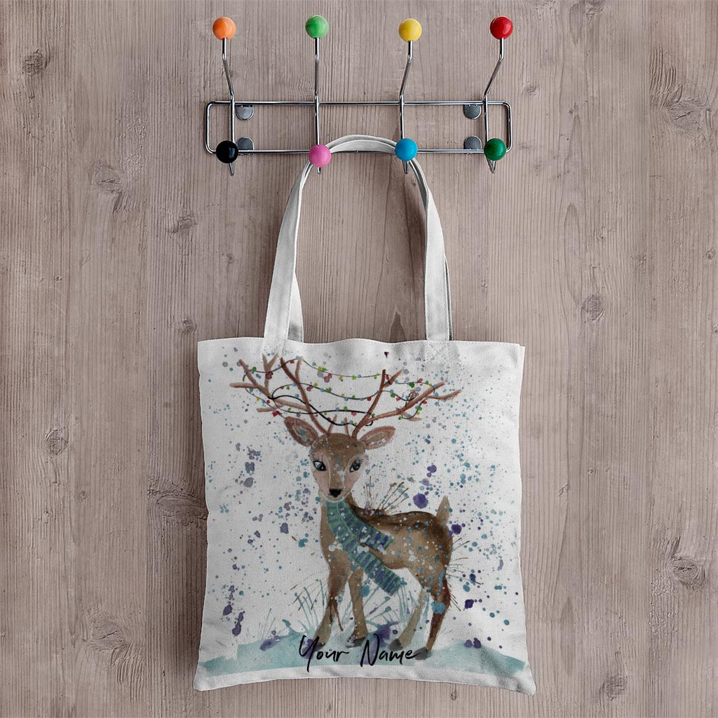 """Winter"" Deer Personalised Canvas Tote Bag"